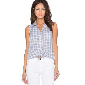 Paige Adora Blue & Gray Plaid Sleeveless Top XS
